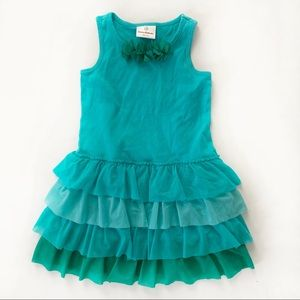 Hanna Andersson Tiered Dress Size 110 Blue Green